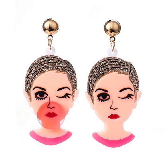 Super Cute Girl Funny Blowing Bubbles Winking Women Acrylic Drop Earrings Lovely Creative Blowing Figure Earrings For Women Fashion Jewelry