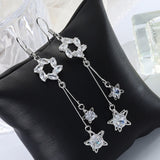 Beautiful 2020 New Crystal Women Star Drop Earrings Female Long Geometric Pendant Earrings Wedding Fashion Jewelry Jewelry Gifts