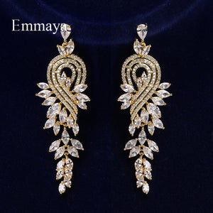Stunning Long Earrings Female Charming Jewelry With Cubic Zircon Three Color Choice Distinctive Gift In Wedding Party