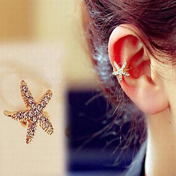 1 Piece Fashion Women Rhinestone Starfish Ear Clip Ear Stud Earrings Jewelry 2020