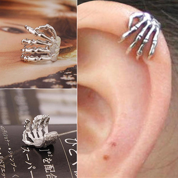 1 Piece Halloween Unisex Punk Simple Design Silver Colour Skeleton Finger Hand Ear Clip Ear Cuff 2020