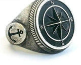 Eight Pointed Compass & Anchor Silver Colour Stainless Steel Star Ring Mens Jewelry