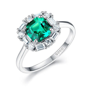 Created Emerald Gemstone Real 925 Sterling Silver ring for Women Ascher cut Luxury Ring for Engagement Bride Romantic Birthday Gift