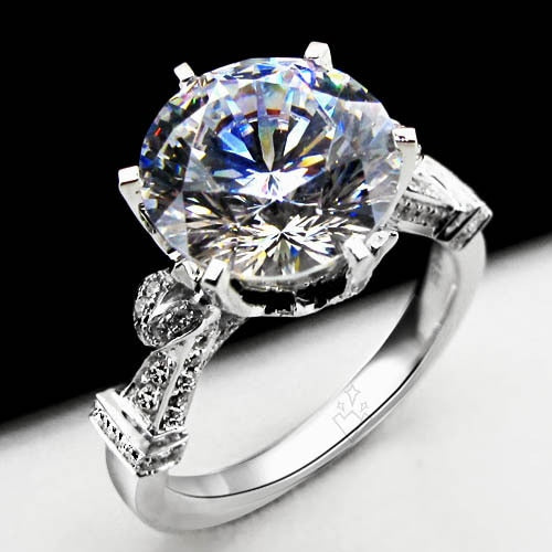 Solid Platinum PT950 Ring 4CT Round Brilliant VVS1 Diamond Engagement Ring Women