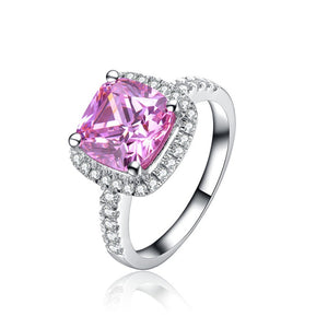 Solid Platinum PT950 Ring 2CT Cushion Pink Diamond Engagement Ring Faultless Bridal Jewelry Anniversary Gift