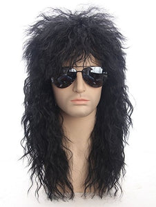 70s 80s Mullet Wig Halloween Costumes Rocking Dude Black Curly Synthetic Hair Wig Punk Metal Rocker Disco Cosplay Wig Only