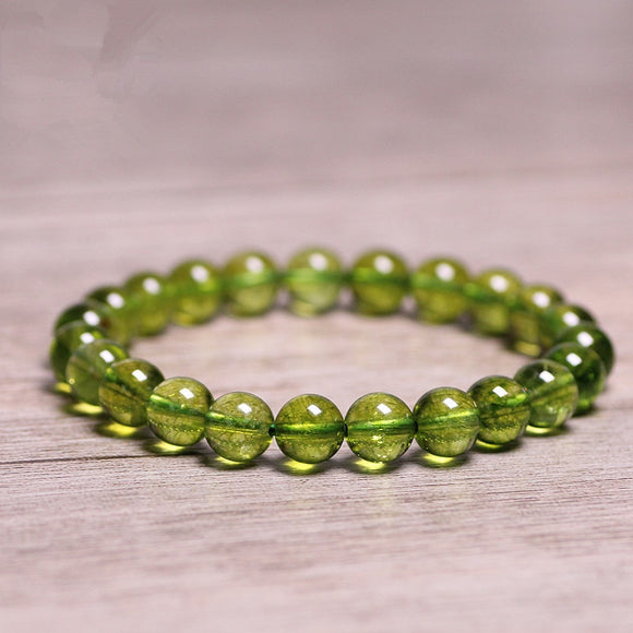 Natural Stones Green Peridot Bracelet Olive Crystal Quartz Round Beads For Men & Women Bracelet Healing Energy Gift Lucky Jewelry