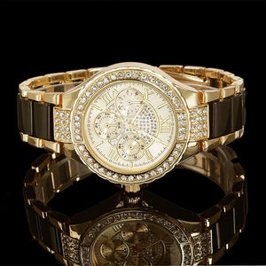Women Crystal Watch Round Designer Ladies Fashion Bracelet Style Famous Brand Gold Geneva Women Stainless Steel Quartz Watch