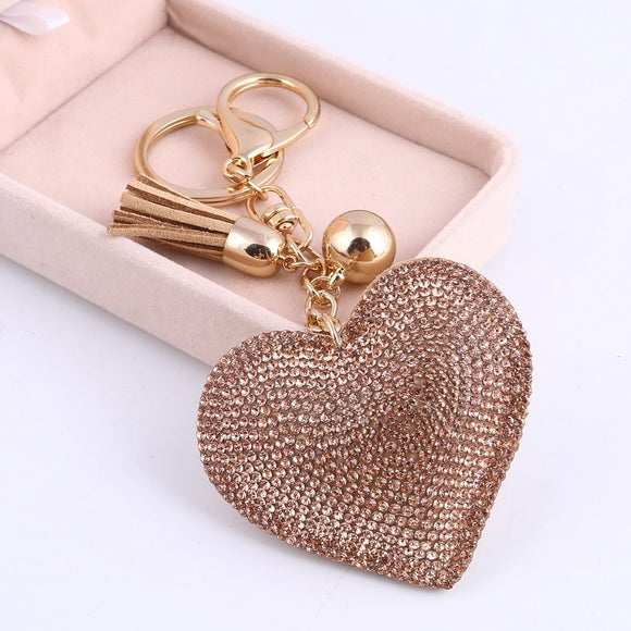 Pretty Puffy Heart Keychain Leather Tassel Gold Tone Key Holder Metal Crystal Key Chain Keyring Charm Bag Auto Pendant Gift