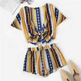 Pretty lady Geometric Print Bow Knot Deep V Neck Crop Top And Shorts Women Two Piece Outfits Summer Boho Casual Short Sets For Women