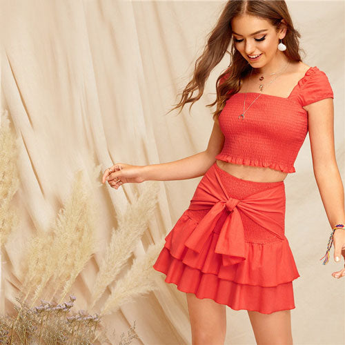 Pretty lady Bohemian Orange Smocked Crop Top And Tie Waist Layered Ruffle Skirt Set Summer Women Vacation Sexy Two Piece Set