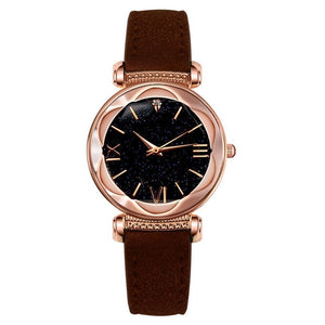 Sleek Stylish Women's Synthetic Leather Band Round Analog Quartz Wrist Watch Bracelet Easy To Read Face with Roman numerals