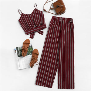 Stylish Two Piece Set Knotted Back Striped Cami Top With Pants Sleeveless Crop Top Burgundy Pants Set 2019 Summer Casual Women Two Piece Clothing Sets