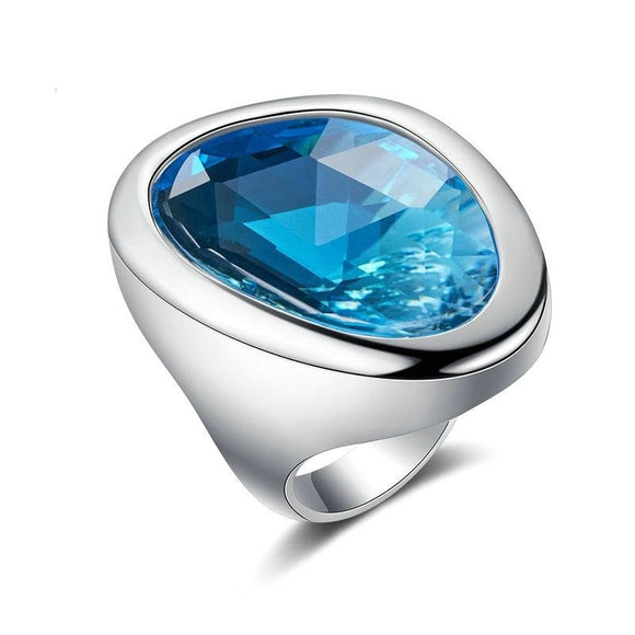Clear Ocean Blue Ring for Women Fashion Cocktail Ring Statement Jewelry Silver Colour Big Glass Stone Ring R2133
