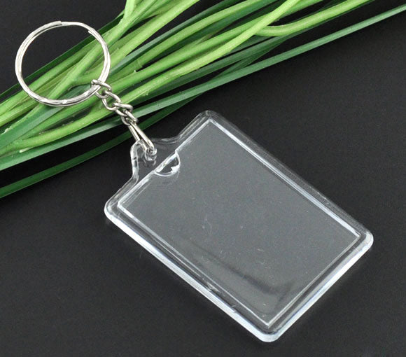 DIY put your own picture in! Plastic + Alloy Key Chains Key Rings Rectangle Silver Plated Transparent 11cm(4 3/8