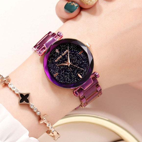 Pretty Unique Hannah Martin Japan Movement Night Flash Starry Sky Dial Stainless Steel Waterproof Women Watches Diamond Elegant