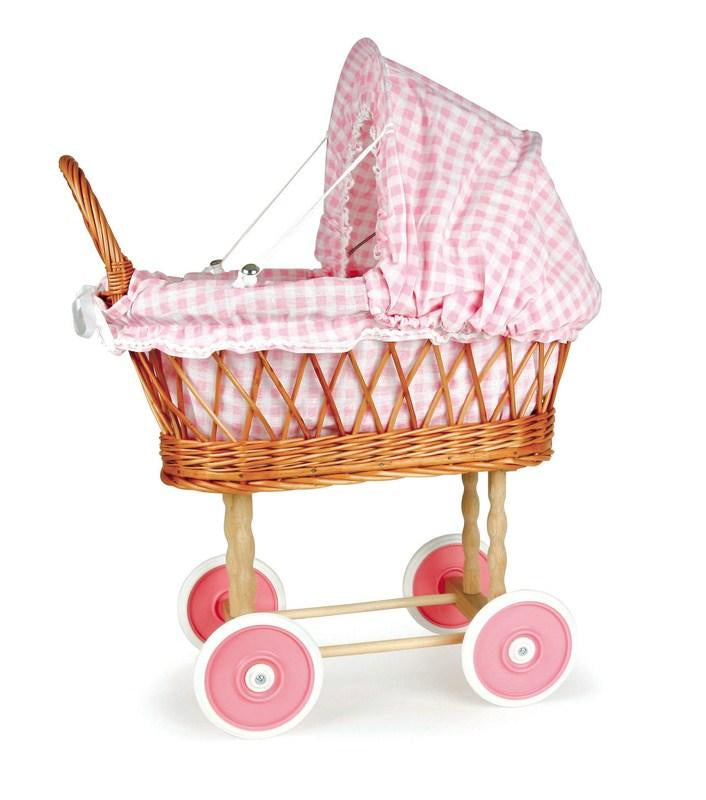 WICKER PRAM WITH PINK GINGHAM LINING