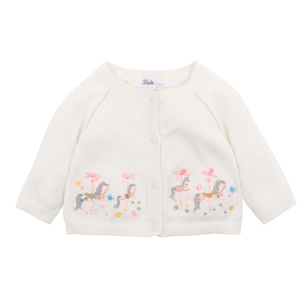 IRIS EMBROIDERED CARDIGAN CLOUD