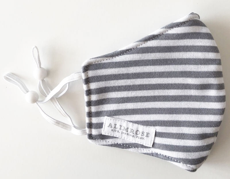 YOUTH 3 LAYER FACE MASK - GREY STRIPE