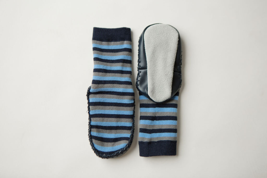 Leather Moccasin Socks Blue/Grey