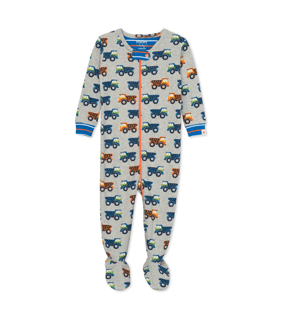 Dump Trucks Organic Cotton Footed Coverall