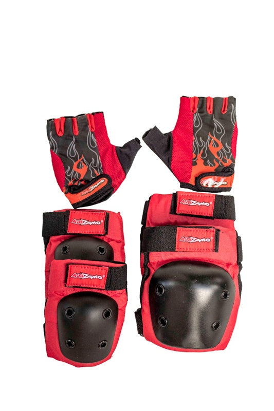 Kidzamo Red Elbow & Knee Pads with Gloves