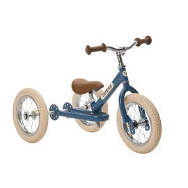 Blue Vintage Trybike, Cream Tyres and Chrome (3 wheel)