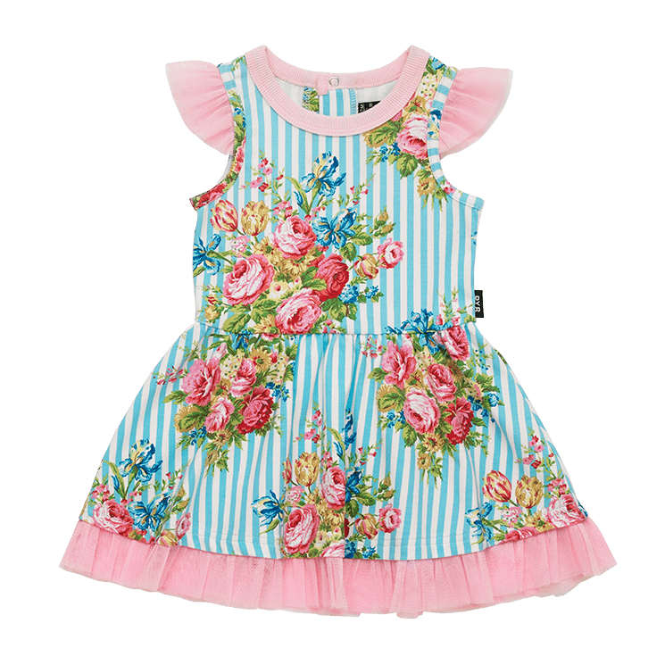 BLUE STRIPE FLORAL - BABY SS DRESS