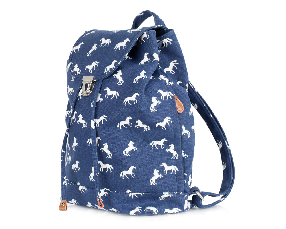 Canvas Back Pack - Horse Navy