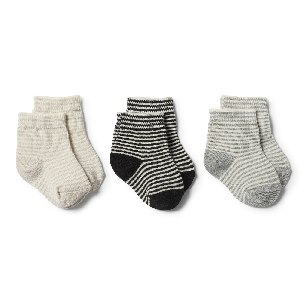 ASH GREY EGG 3 PACK BABY SOCKS