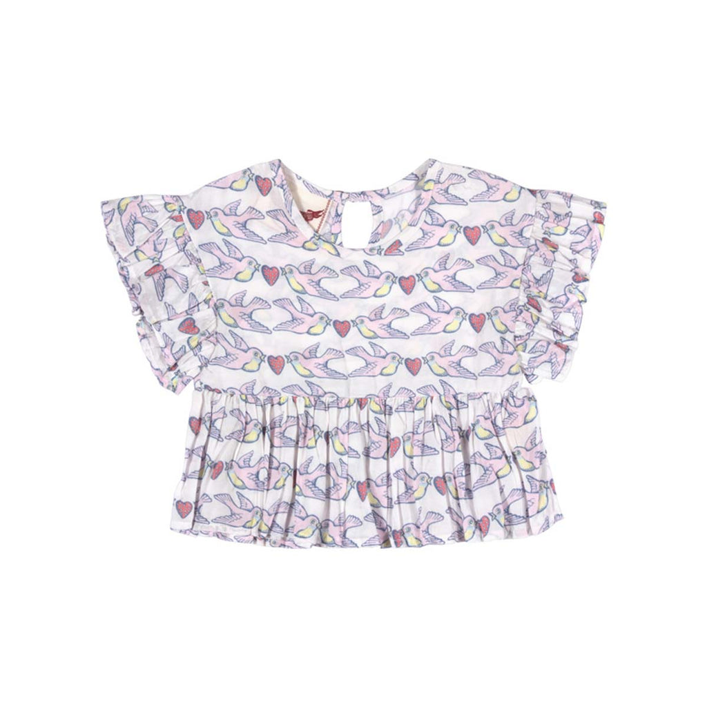 Frilled Smock Top - Birds on a Wire