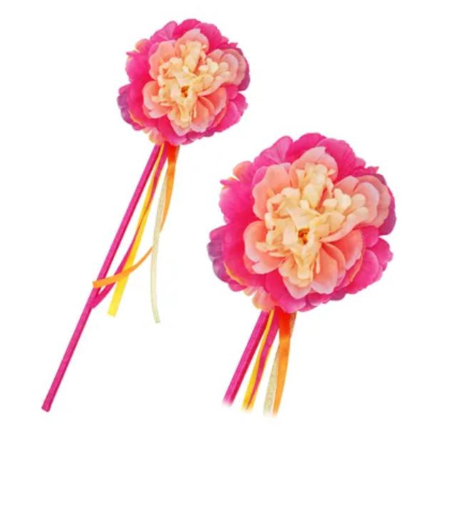 Peony flower fairy wand-hot pink