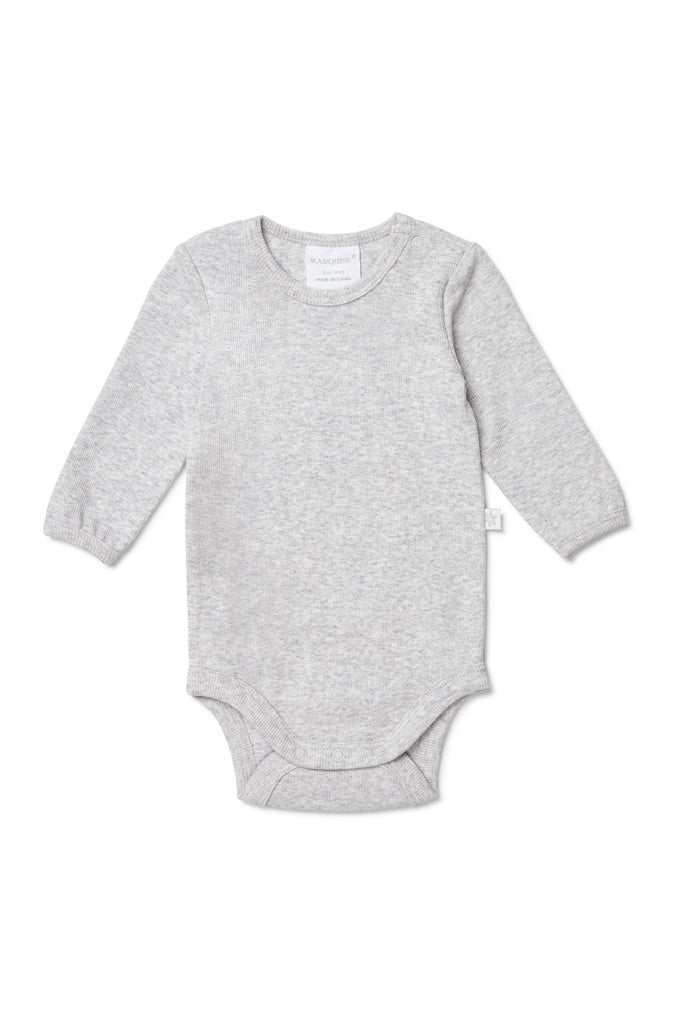 GREY MARLE LONG SLEEVED BODYSUIT