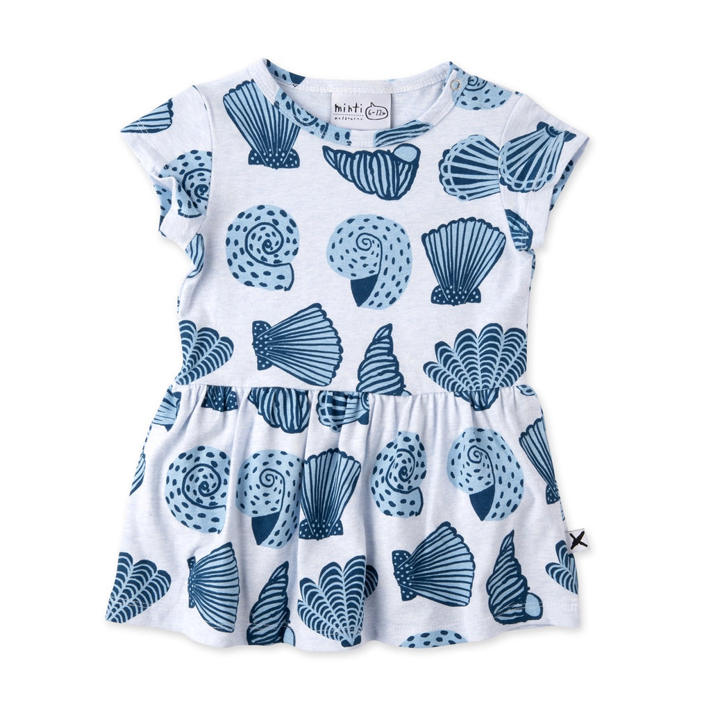 Seashells Onesie Dress - Light Blue Marle