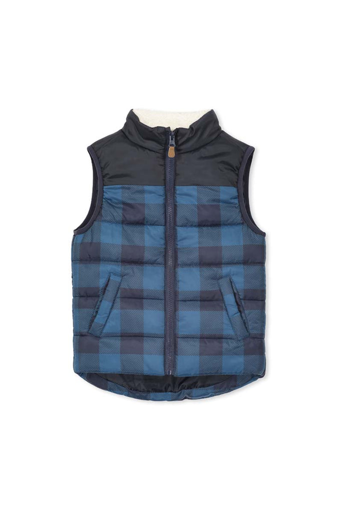 CHECK VEST DENIM/NAVY