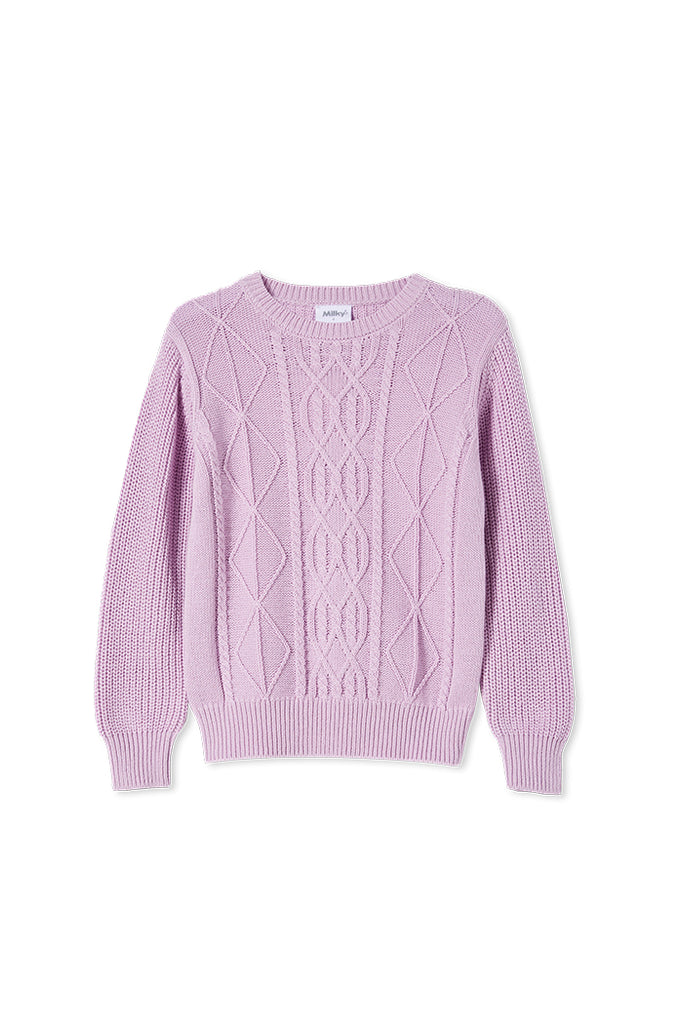 CABLE KNIT JUMPER LILAC KNIT