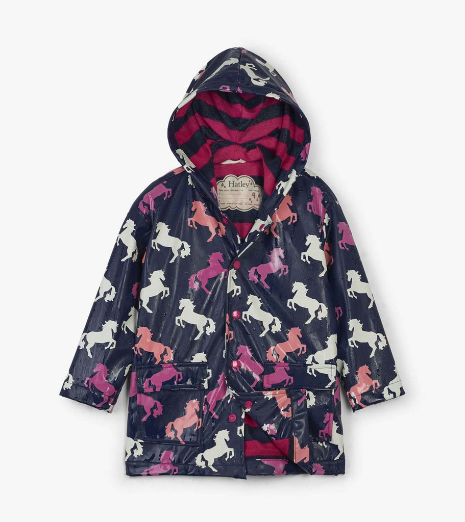 Playful Horses Colour Changing Raincoat