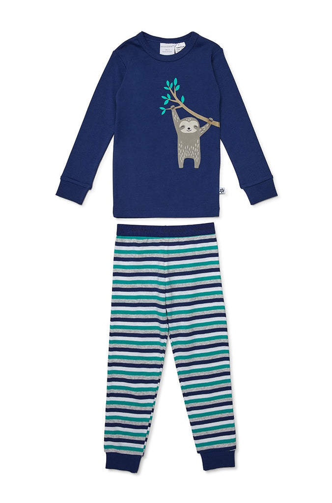 HANGING SLOTH PYJAMAS - NAVY/STRIPE