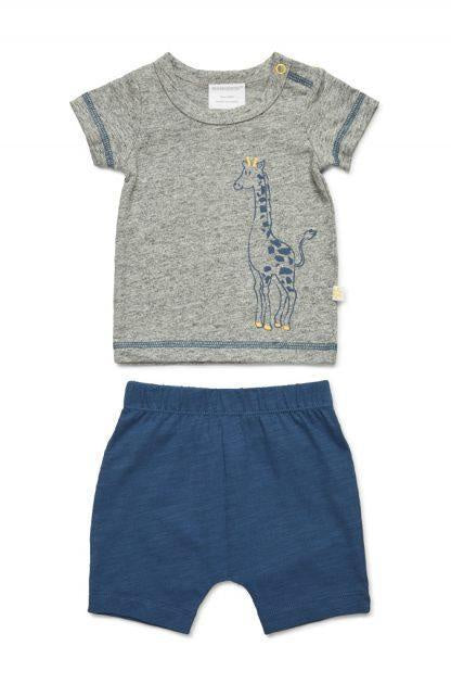 SS Top & Shorts  Giraffe Blue/Grey