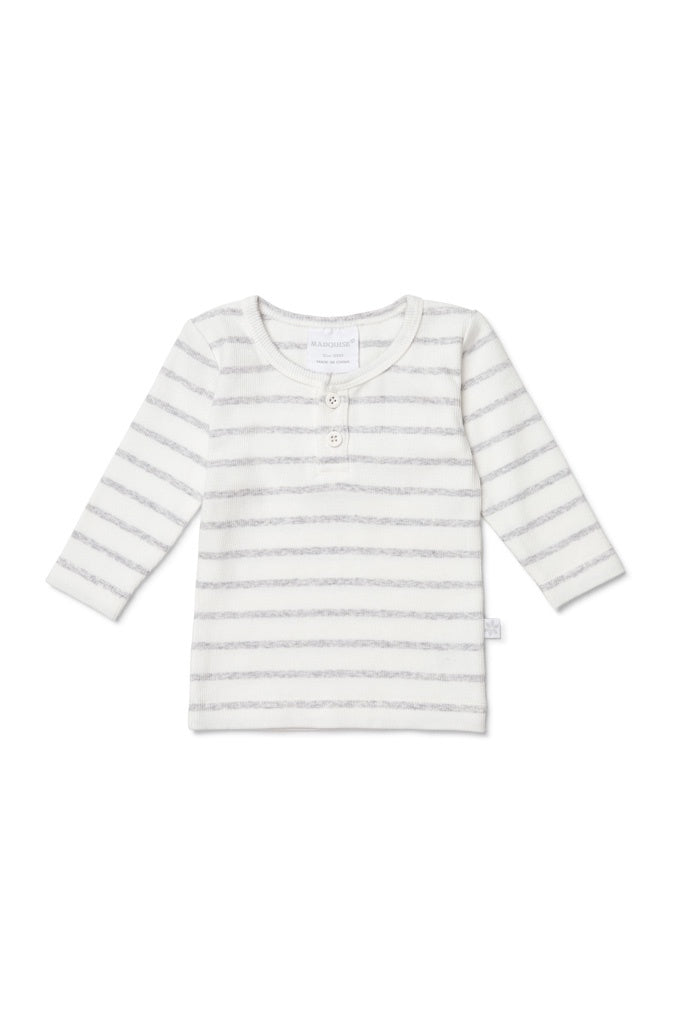 GREY STRIPED LONG SLEEVED RIB TOP