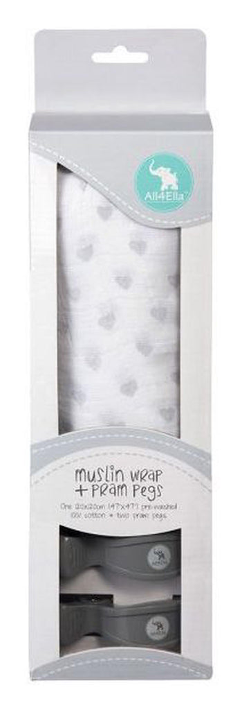 Muslin Wrap Box Set Grey Hearts