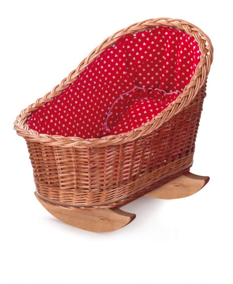 CRADLE WITH RED HEARTS LINING