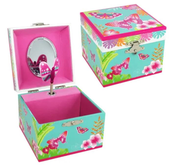 Tropical butterfly small music box-blue