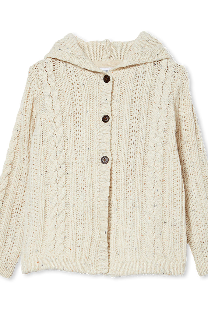 HOODED CARDIGAN - NATURAL FLECK