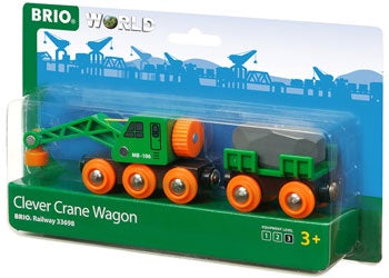 BRIO Vehicle - Clever Crane Wagon, 4 pieces