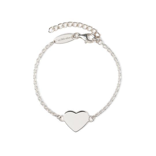 Glossy Heart Bracelet Medium - Silver