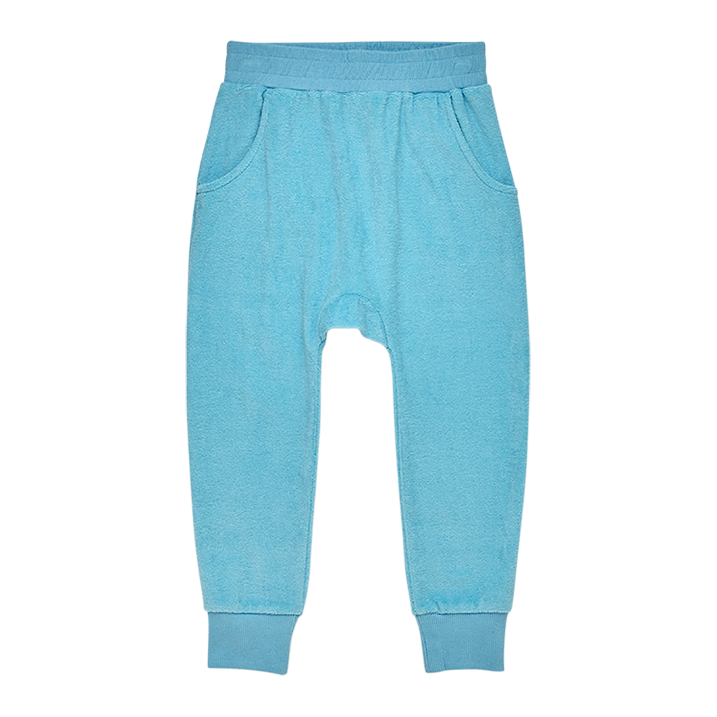 TERRY TOWELLING - TRACK PANTS BLUE