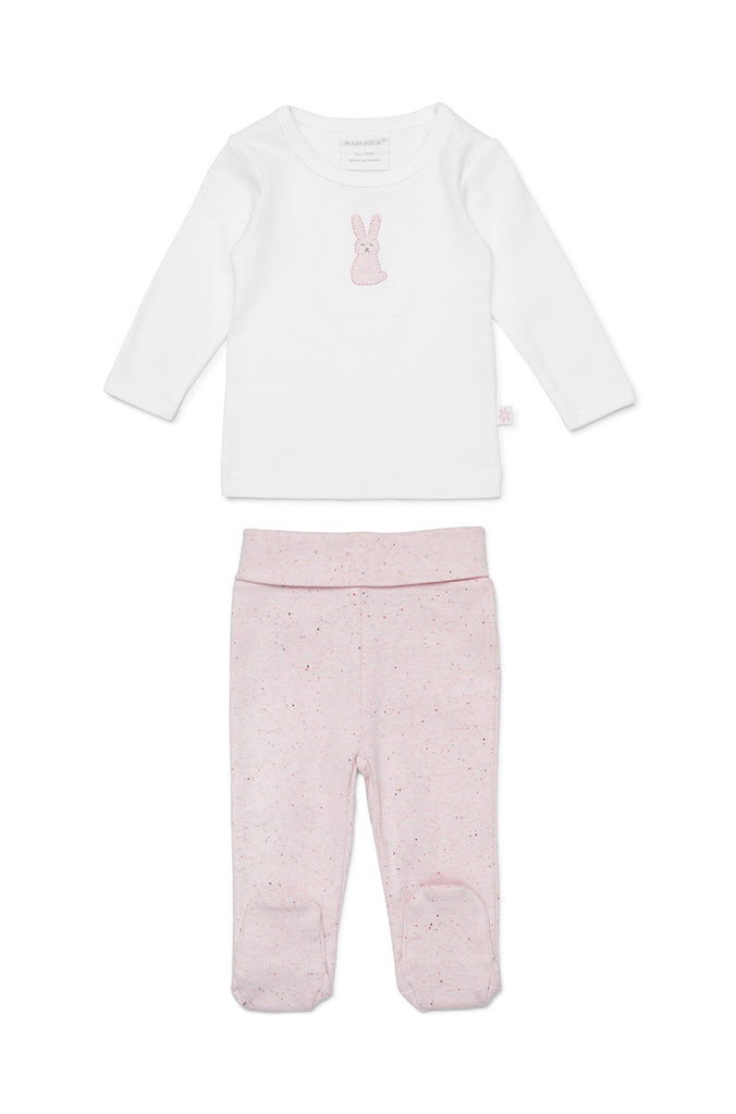 BUNNY LONG SLEEVE TOP AND LEGGINGS - WHITE/PINK