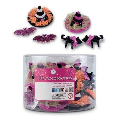 Halloween party hair clips in tub assorted