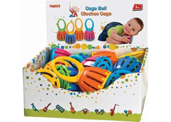 A safe bell for small hands with excellent bright sounds. Comes in assorted bright colours. Suitable from 3 months